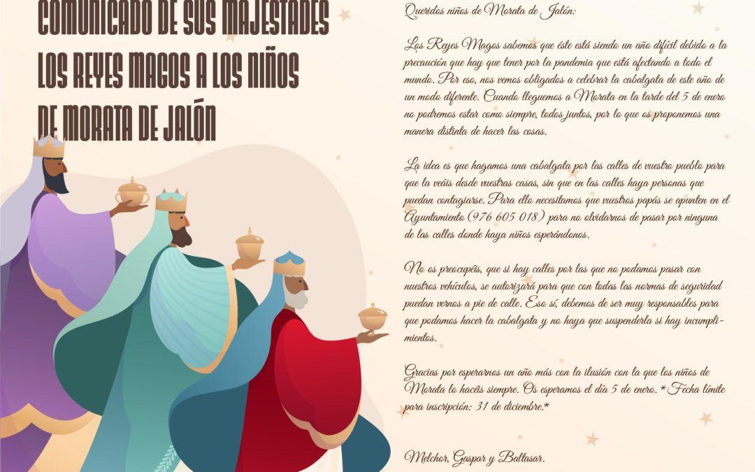 Los Reyes Magos se dirigen a los niños y niñas de Morata