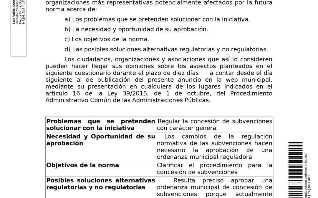 Anuncio relativo a la consulta pública para la elaboración de la Ordenanza General Reguladora de la Concesión de Subvenciones