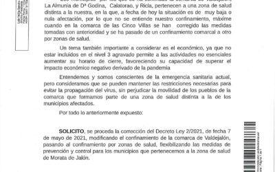 El Ayuntamiento de Morata de Jalón presenta una solicitud ante la Consejería de Sanidad del Gobierno de Aragón para que se levante el confinamiento en Morata al NO existir casos.