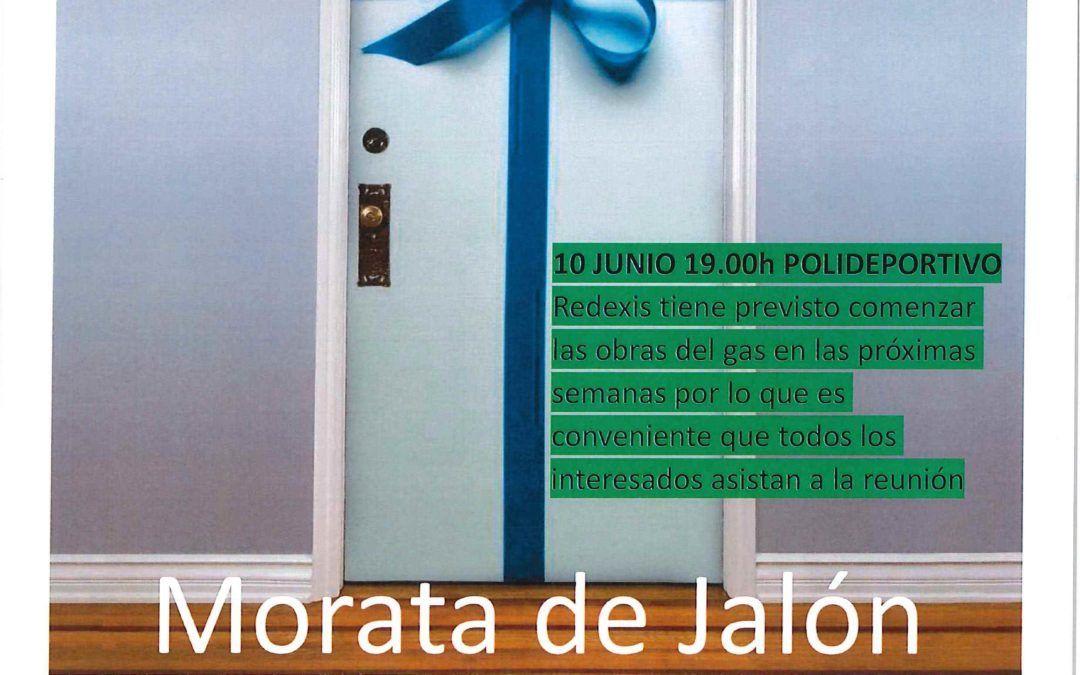 Sesión informativa de la empresa Redexis, el próximo jueves día 10 de junio a las 19 horas en el pabellón, para informar a los vecinos sobre la llegada del gas canalizado a Morata de Jalón.