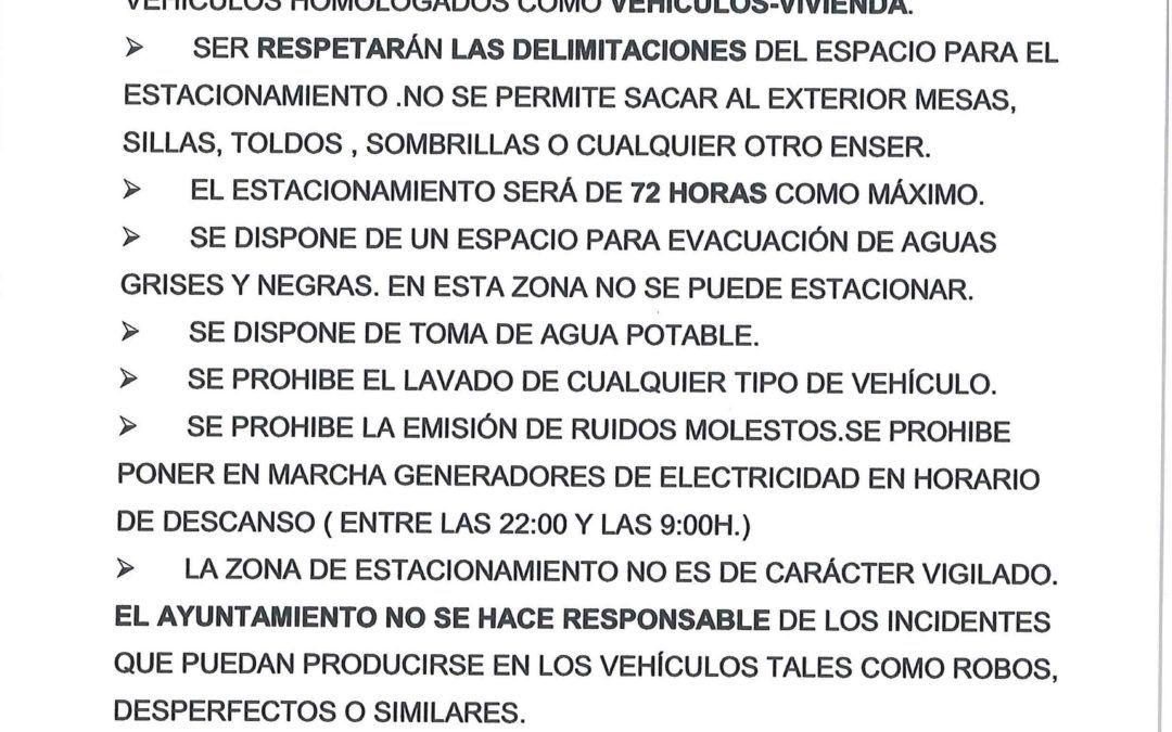 Normas de uso del área de servicios para autocaravanas