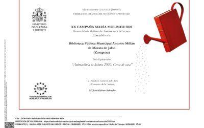 La biblioteca de Morata galardonada con el premio de la XX Campaña María Moliner 2020